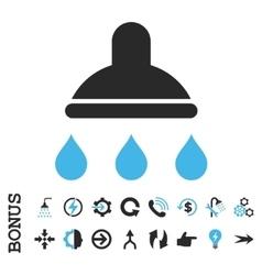 Shower Flat Icon With Bonus vector