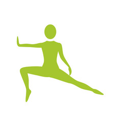 Silhouette woman stretching leg side left vector