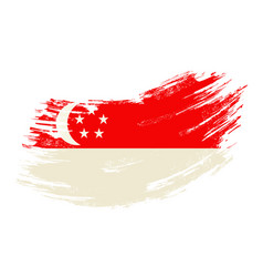 Singapore flag grunge brush background vector