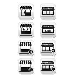 Single shop or store supermarket buttons vector image