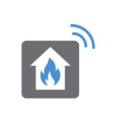 Smart fire alarm system icon on white background vector