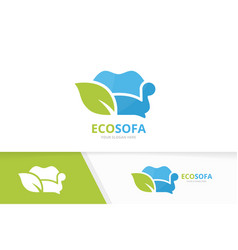 Sofa and leaf logo combination couch and vector