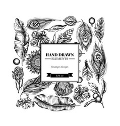Square floral design with black and white banana vector