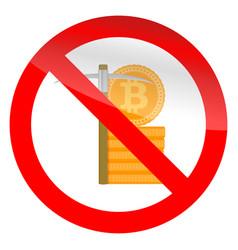 Stop mining icon vector