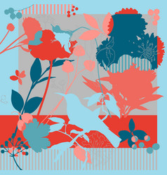 summer autumn colors silk scarf with blooming vector image