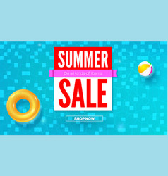 summer sale hot offer in summertime top view vector image