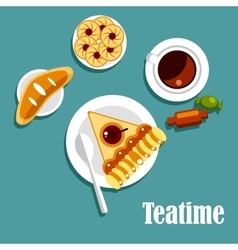 Teatime food with cup of tea pastries and candies vector image
