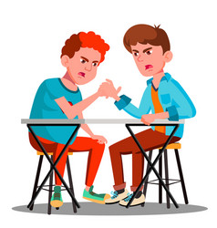 Two young strong men compete in arm wrestling vector