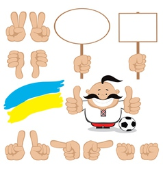Ukrainian fan gesture set vector