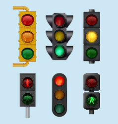 urban traffic lights signs for city vehicles vector image