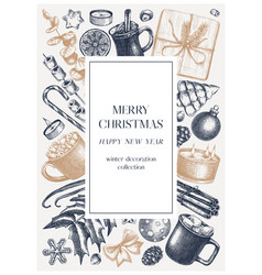 vintage christmas card or invitation template vector image