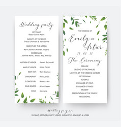 Wedding floral greenery ceremony party program vector