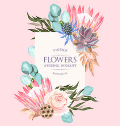 Wedding invitation with protea and other flowers vector