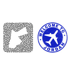 Welcome scratched stamp and jordan map trip vector