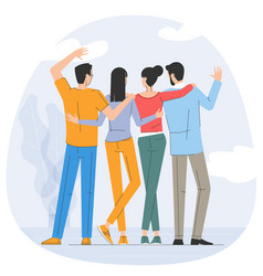 young friends together vector image