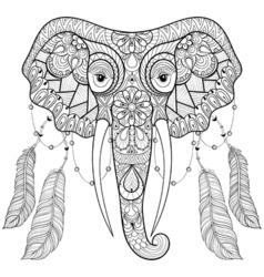 Zentangle indian Elephant with bird feathers in vector