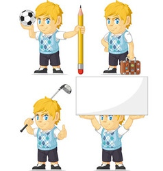 Blonde Rich Boy Customizable Mascot 5 vector image