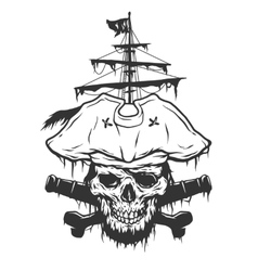 Captain skull on a background of pirate attributes vector image vector image