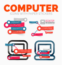 diagram elements set of pc computer icons vector image vector image