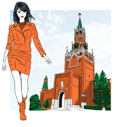 fashion girl in Moscow vector image vector image