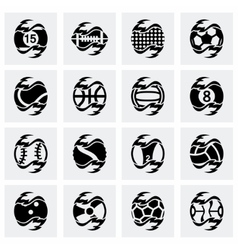 Fire sport balls icon set vector image