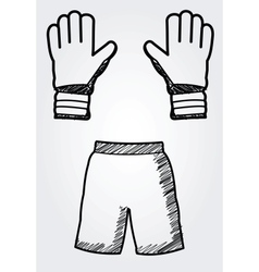 hand drawn soccer equipment vector image
