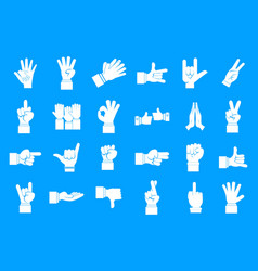 hand sign icon blue set vector image