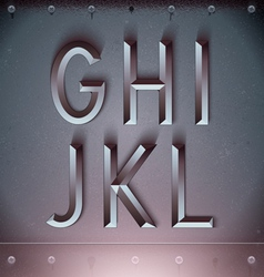 Metal Embossed Font from G to L vector image vector image