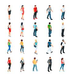 set of isometric people modern young people vector image
