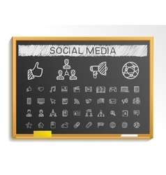 Social media hand drawing line icons chalk sketch vector image vector image