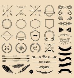 vintage hipster logo elements with arrowsribbons vector image vector image