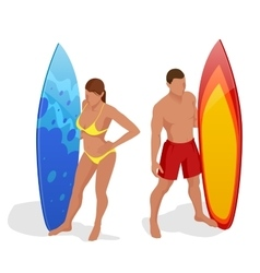 Young girl in bikini - surfer with surf board dive vector image