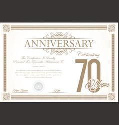 anniversary retro vintage background 70 years vector image vector image