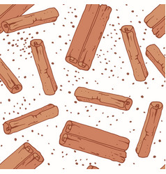 hand drawn seamless pattern with cinnamon sticks vector image