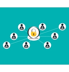 People connections lock network icon vector