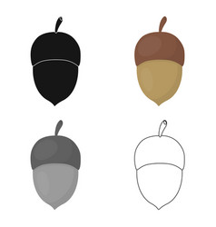 acorn icon in cartoon style for web vector image