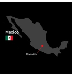 Detailed map of Mexico and capital city Mexico vector image