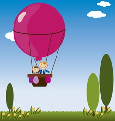 hot air balloon with children vector image