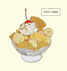 ice-cream sundae sketch vector image vector image