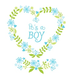 its a baby boy floral heart vector image vector image