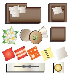 Living room furniture top view set 12 for interior vector image vector image