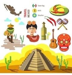 set of Mexico symbols vector image