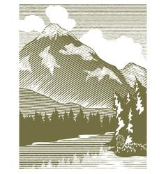 Woodcut Wilderness Lake vector image