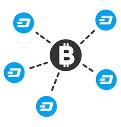 bitcoin dash network flat icon vector image