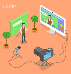 blogger flat isometric concept vector image vector image