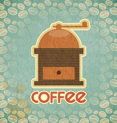 coffee mill on vintage background with coffee bean vector image vector image