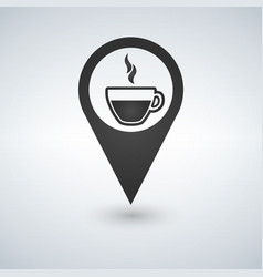 coffee shop location with coffee cup icon filled vector image
