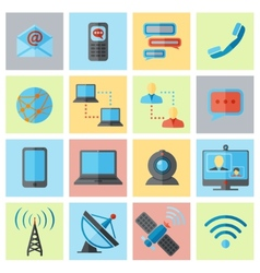 Communication icon flat set vector image