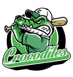 crocodile baseball mascot vector image vector image