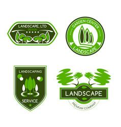 landscape design studio label set vector image